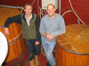 Jamie (brewer) & Simon. 6 BBL brewery. 2008.